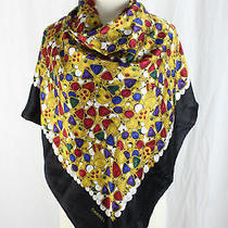 Chanel Auth Women's Black Yellow Red Multi Color Jewel Print Square Scarf Photo