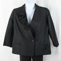 Chanel Authentic Black Camellia Flower Blazer Jacket Size 03 C Size 46 14 Photo