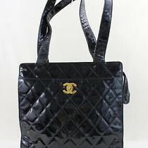 Chanel Authentic Black Quilted Patent Leather Tote Bag Handbag Photo
