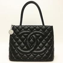 Chanel Authentic Cc Caviar Leather Black Tote Shoulder Hand Bag Purse Auth Photo