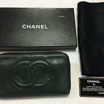 Chanel Authentic Cc Logos Quilted Long  Wallet Purse  Leather Big Size Photo