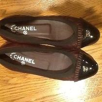 Chanel Ballerina Flats Ruffled Brown Leather Black Patent Logo Toe 38 1/2.7 1/2 Photo