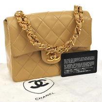 Chanel Beige Lambskin Mini Flap 7