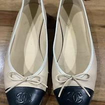 Chanel Beige Leather Flats Size 41 Cc Logo Classic Ballerina Cap Toe Shoes Photo