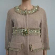 Chanel Beige Linen/cotton Woven Jacket W/beaded Fringe Trim Size 38/us 6 Photo