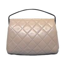 Chanel Beige Quilted Leather Silver Handle Handbag Clutch Photo
