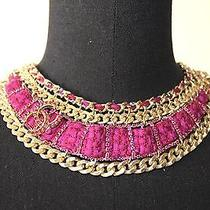 Chanel Bib Necklace Jewelry Chainlink Tweed Crystals Cc Gold Costume Fashion  Photo