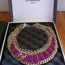 Chanel Bib Necklace Jewelry Chainlink Tweed Crystals Cc Gold Costume Fashion New Photo