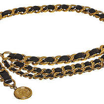 Chanel Black and Gold Chain Medallion Belt Photo