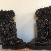 Chanel Black and White  (Multi-Color) Faux Fur Snow Winter Boots Photo