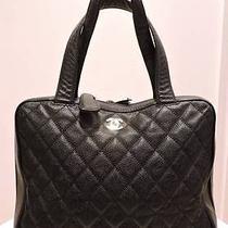 Chanel Black Caviar Leather Surpique Tote Handbag Photo