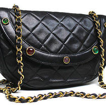 Chanel Black Color Stone Matelasse Quilted Chain Shoulder Bag Pures Photo