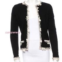 Chanel Black Cream Cashmere Braided  Fringe Tassels Cardigan Sweater 05c 38 36  Photo