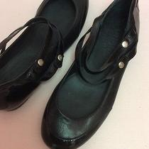 Chanel Black Flats Ballet Mary Jane Patent Leather Logo Stappy 36 6 Photo