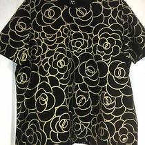 Chanel  Black Gold Cotton  Short Sleeves T-Shirt Top Cc Logo 38 Photo