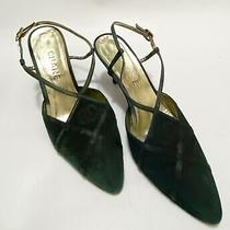 Chanel Black Green Satin Slingback Pumps Size 38.5 Photo