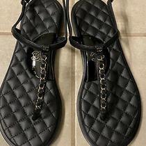 Chanel Black Lambskin Sandals Size 37 Photo