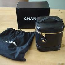 Chanel Black Lambskin Vanity Makeup Jewelry Zippered Case-Gorgeous-Euc Photo
