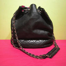 Chanel Black Leather Drawstring Shoulder Bag Hobo Vintage Gold Chain  Photo