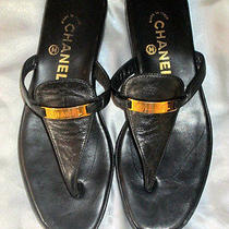 Chanel Black Leather Flats Shoes Sandals 39 Us 9   Classy Gold 'Chanel' Plaques Photo