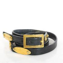 Chanel Black Leather Gold Tone Hardware Detail Thin Belt Sz 75/30 Photo