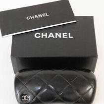 Chanel Black Leather Quilted Signature Cc Logo Hard Sunglasses Case New 425 Photo