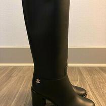 Chanel Black Leather Tall Boots Euro Size 37 - Nib Photo