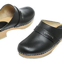 Chanel Black Leather Wood Clog Mules (Size 37) Photo