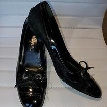Chanel Black Patent Leather and Suede Bow Pump Heel Shoes Eur 38 Us 7.5 Photo