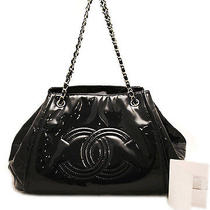Chanel Black Patent Leather Sac Divers Drawstring Tote Bag Photo