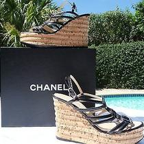Chanel Black Patent Leather Strappy Platform Cork Wedge Cc Logos Size 39.5 (9.5) Photo