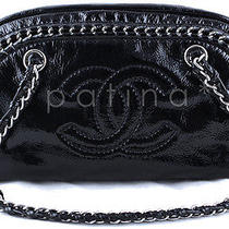 Chanel Black Patent Luxury Ligne Bowler Bag Photo