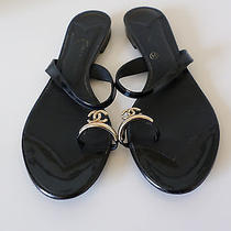 Chanel Black Patent Trim Leather Cc Logo Toe Ring Flat Sandals Shoes Size 39 Photo