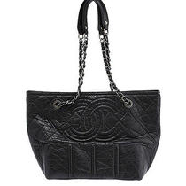 Chanel Black Quilted Leather Shoulder Tote Photo