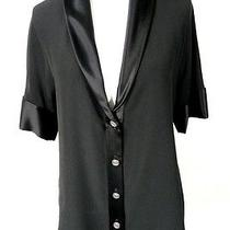Chanel Black Silk Shawl Collar Blouse 38 Photo