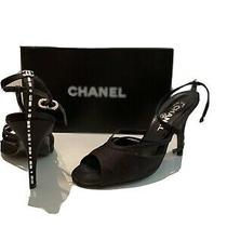 Chanel Black Slingback Heels Size 37 (7) Photo