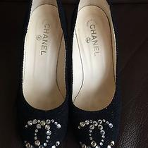 Chanel Black Sparkle Tweed Lacquered Cork Heel d'orsay Pumps Heels Sz 40 Photo