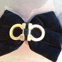 Chanel Black Velvet and Brass Hairclip Photo