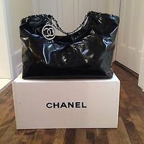 Chanel Black Vinyl Coco Cabas Hobo Xl Handbag W Box Photo