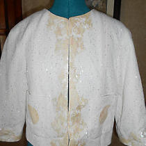 Chanel Blazer Off White With Mother of Pearl Shell Embroidered Size 40 Stunning  Photo