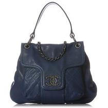 Chanel Bleu Fonce Sac Driver Shoulder Bag Purse Photo