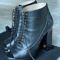 Chanel Block Heel Open Toe Lace Up Platform Booties Black Size 37.5 7.5 Photo
