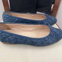Chanel Blue Quilted Denim 'Cc' Bow Ballet Flats Size 38 1/2 Photo
