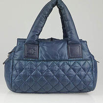 Chanel Blue Quilted Nylon Coco Cocoon Small Bowler Bag Photo