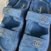 Chanel Blue Suede Cc Dad Sandals Shoes Flats 37.5 Photo