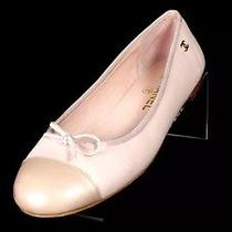 Chanel Blush Leather Patent Nude Cap Toe Bow Ballet Flat Shoes Size 38.5 Photo