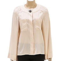Chanel Blush Silk Quilted Collar Wide Long Sleeve Top (Size 36) Photo