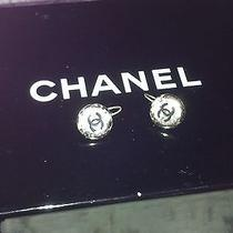 Chanel Boutique Earrings Silver Metal Logo Pierced Photo