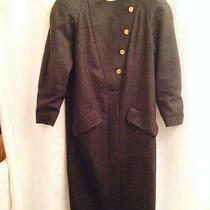 Chanel Boutique - Vintage Grey Wool Dress With Gold Coco Chanel Buttons - Small Photo