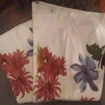Chanel Boutique White Floral Pants 30 Vintage Rare Cc Coco Chanel Price Reduced Photo